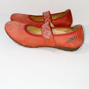 Mephisto Red Suede Leather Mary Jane Flats